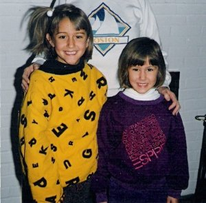 Childhood photo of Lauren & Lisbeth rocking the 80s style.