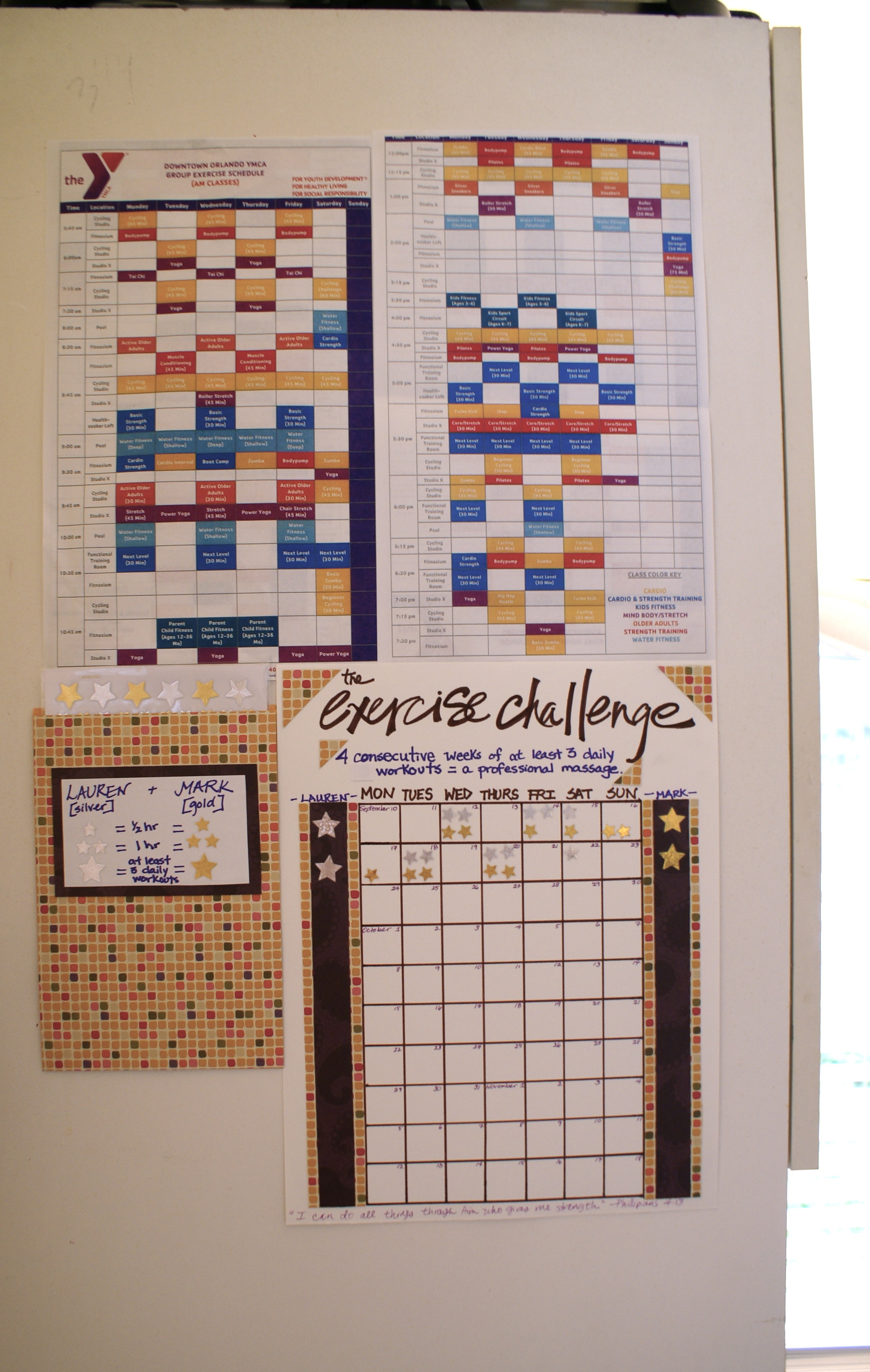Exercise Challenge Chart with Fitness Class Schedule