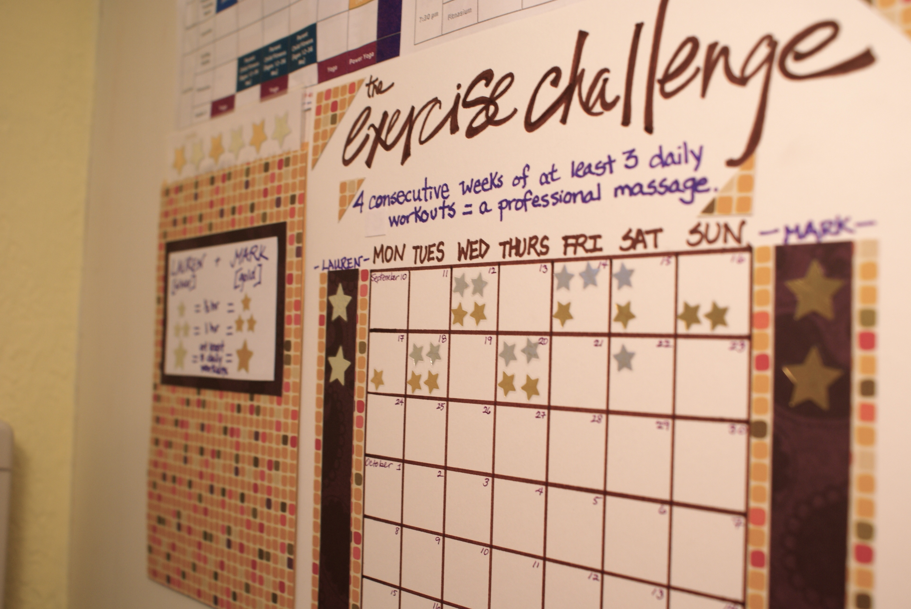 Exercise Challenge Chart with stars to track progress