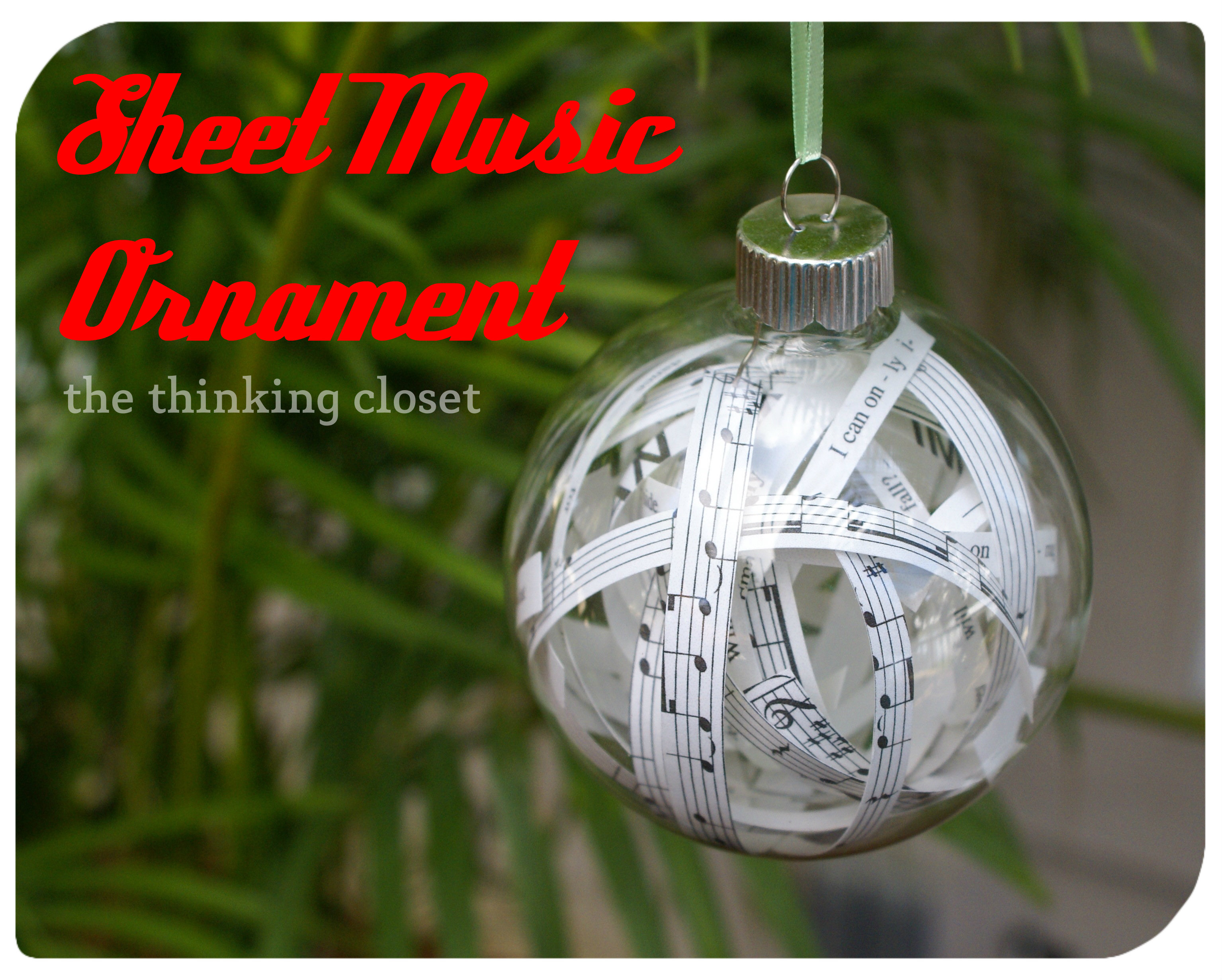 DIY Sheet Music Ornament via The Thinking Closet