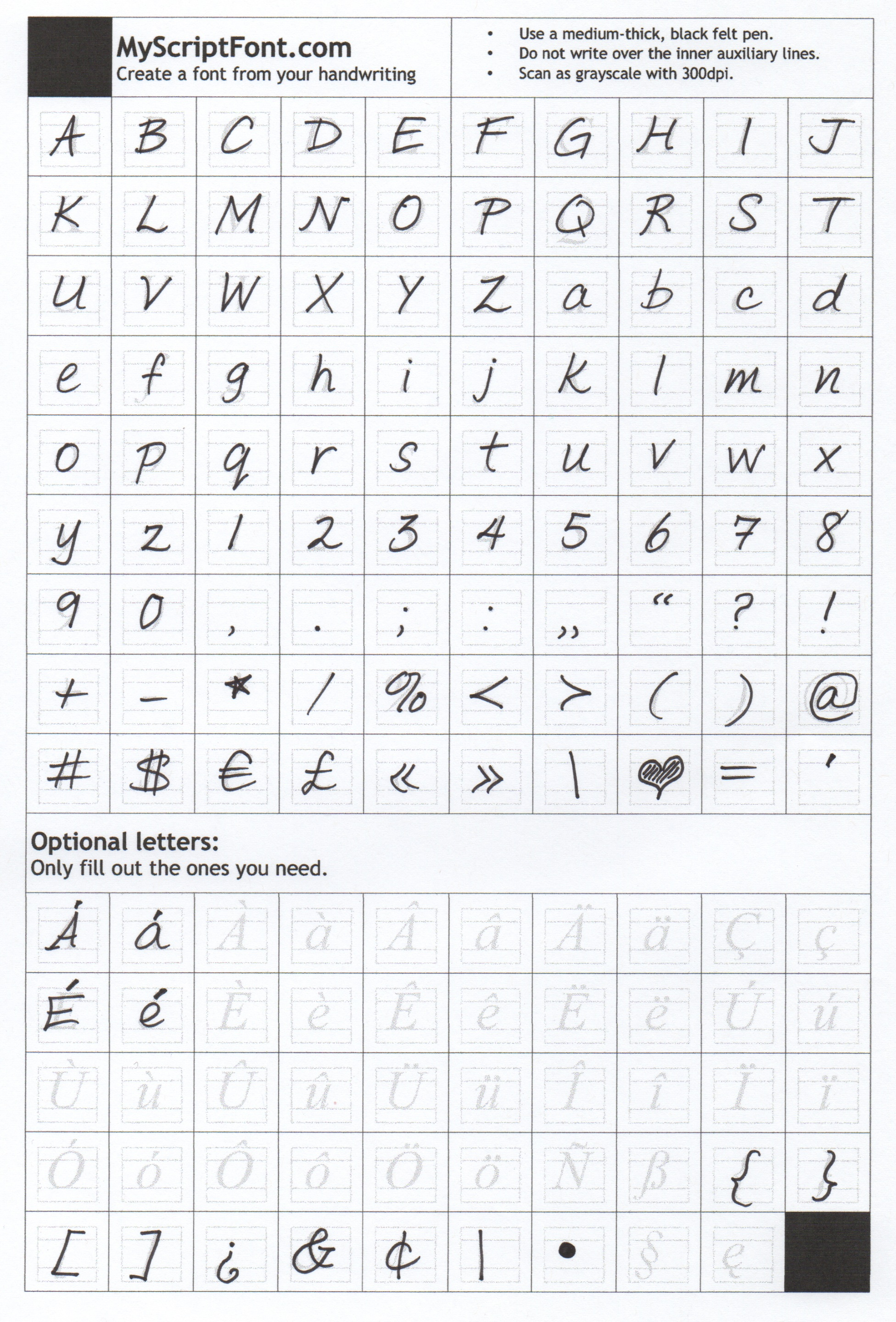 "Scan of Personalized ""My Script Font"" - via The Thinking Closet"