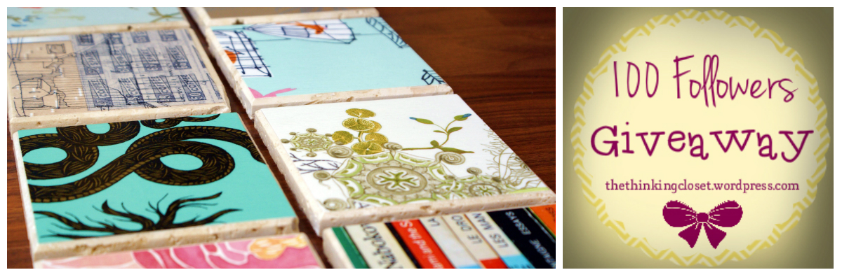 100 Followers Giveaway Winner: Wallpaper Coasters via The Thinking Closet