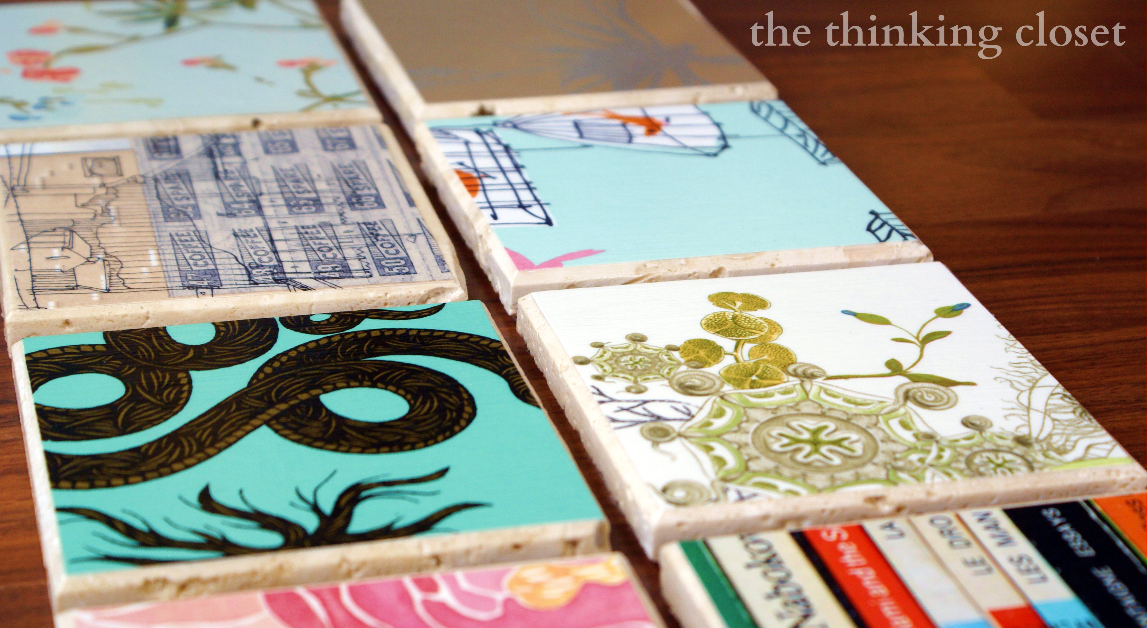 DIY Wallpaper Coasters via The Thinking Closet