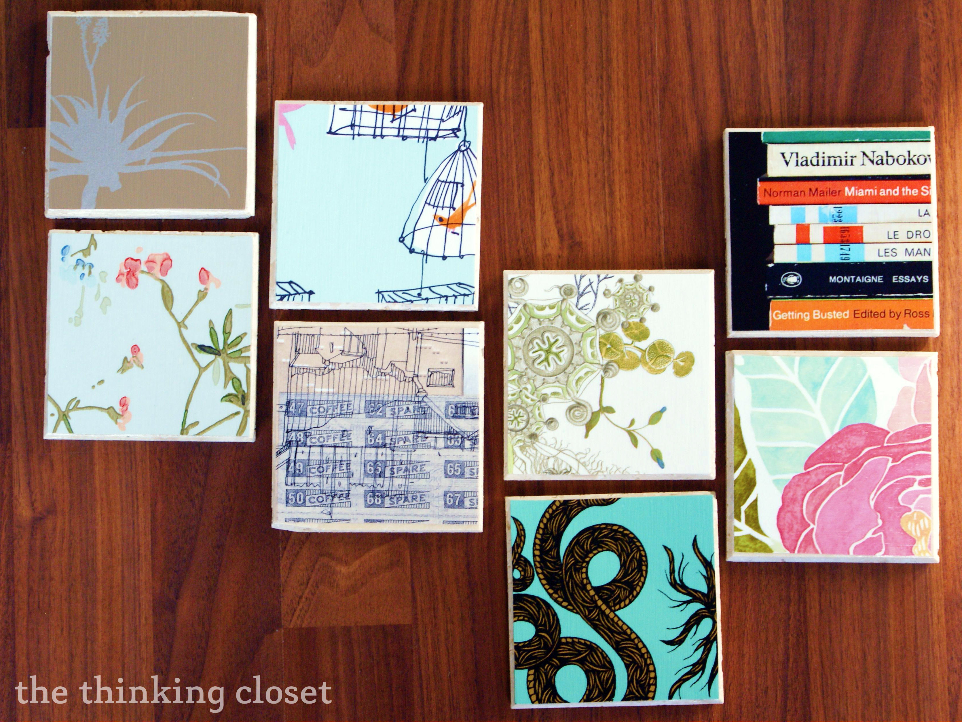 DIY Wallpaper Coasters - 100 Followers Giveaway - Via The Thinking Closet