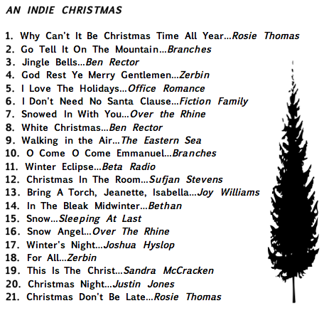 Track List for An Indie Christmas