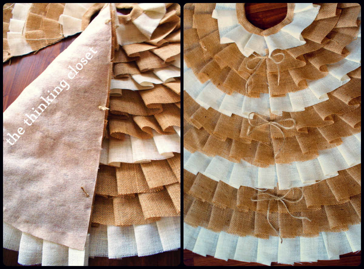 D.I.Y. No-Sew Ruffle Christmas Tree Skirt by The Thinking Closet
