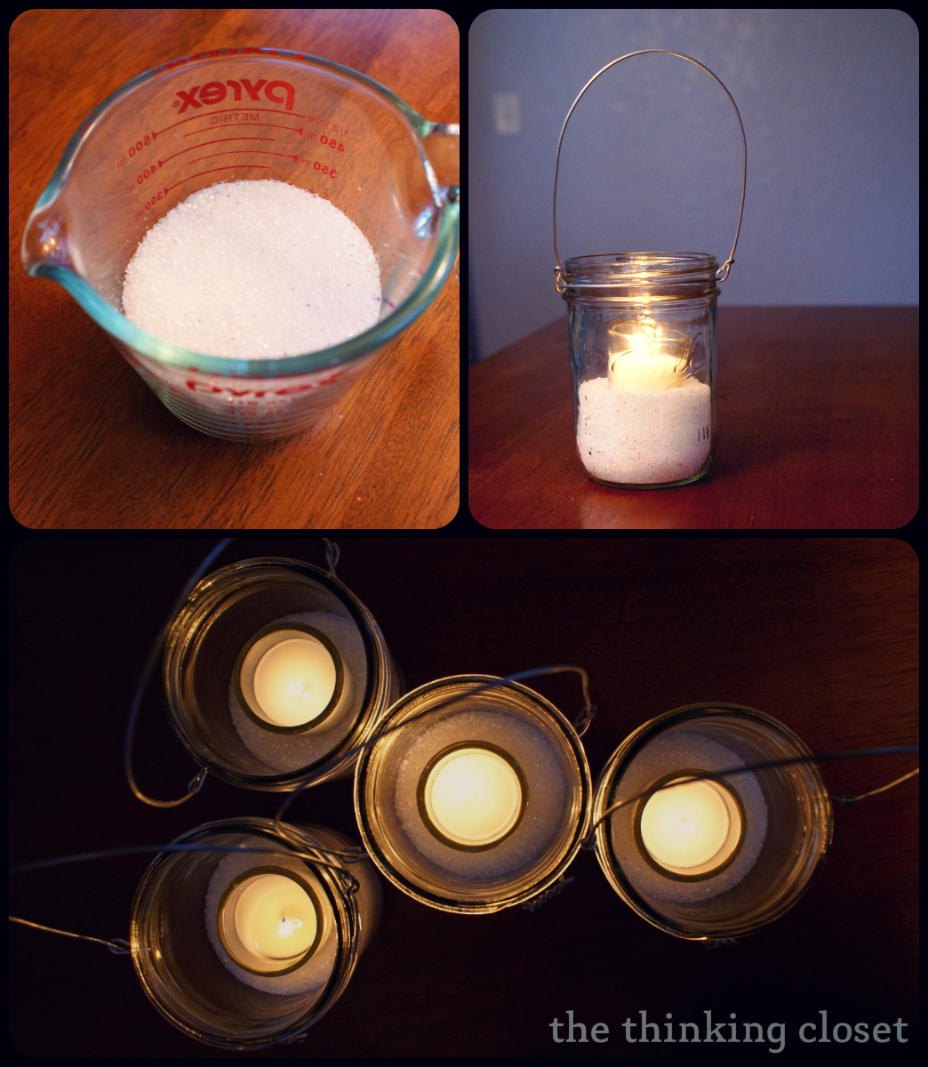 Winter Mason Jar Lanterns by The Thinking Closet